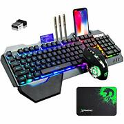 Wireless Gaming Keyboard And Mouse With Rainbow Led 16rgb Backlit Rechargeable