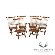 Hitchcock Quality Set 6 Oak Comb Back Windsor Dining Chairs