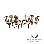 Maitland Smith Chippendale Style Set 8 Carved Mahogany Dining Chairs