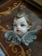 Fontanini Depose Italy Cherub Angel Face Wings 68 Spider Mark Wall Decor