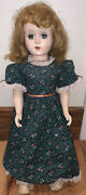 Antique Nancy Ann Show Style Pinafore Stocking 17andrdquo Tall Doll Blue Sleep Eyes