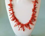 Coral Necklace Vintage Necklace With Coral Branch Necklace Red Natural Coral