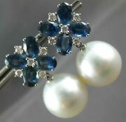 4.92ct Diamond And Aaa South Sea Pearl And Sapphire 18k White Gold Hanging Earrings