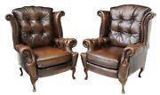 Armchairs Wingback Leather Brown Queen Anne Style Pair Nail Head Tufted