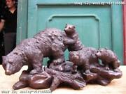 Chinese Lovely Pure Bronze Carved Four Black Bear Aaaa