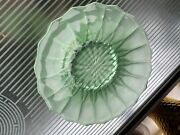 Vintage Art Deco Bagley Green Uranium Frosted Glass Green Plate