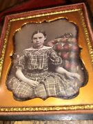 Antique 1850s Daguerreotype Photo Pretty Little Girl Tinted Face Jewelry Sofa