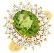 Large 3.85ct Diamond And Aaa Peridot 14kt Yellow Gold Oval And Round Flower Fun Ring
