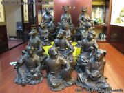 China Old Imperial Palace Chinese Zodiac Twelve Animal Copper Bronze Statue Set