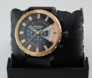 New Authentic Diesel Stronghold Black Rose Gold Chronograph Menand039s Dz4390 Watch