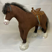 Retired American Girl Prancing Clydesdale Horse 2014 Bkh36 With Saddle Euc