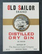 Ancienne étiquette Old Sailor Dry Gin Boston Label