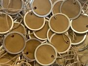 25 Small 1-1/4 Metal Rim Round Circle Coffee Stained Primitive Gift Hang Tags