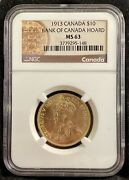1913 Canadian 10 Gold Coin   Graded Ngc Ms 63