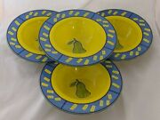 4 Colorful Yellow And Blue Rimmed Soup Bowls Pasta Dinnerwear With Pear Kitchen