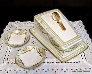 Nippon Hand Painted Gold Moriage Cheese Or Butter Dish And Cover W/butter Pats