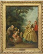 Antique Oil Painting Rococo Style French School Fete Champetre 1700and039s