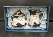 Wade Fine Porcelain China Diane Made In Japan Creamer And Sugar Bowl And Lid