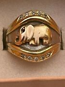 14 Kt Solid Tri Gold Elephant Ring With Diamonds