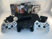 Sony Ps3 Slim Console 250gb Cech- 4001b Bundle 7 Games 4 Controllers And Move Eye