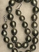 Black Pearl South Pacific Necklace 16.5 10mm-12mm Andnbspandnbsp Silver Colorandnbsp
