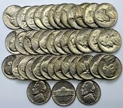 Business Uncirculated Roll 40 1954 D Jefferson Nickels
