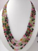 Aaa+ Natural Multi Tourmaline Gemstone Smooth Oval Nugget Beads 20 Necklace