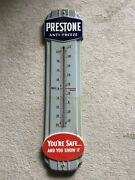 Vintage Prestone Anti-freeze Thermometer Porcelain Gas Oil Sign Advertising 36andrdquo