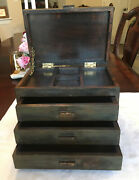 Antique Vintage Wood Box 3 Drawer And Lift Top Chest Jewelry Cabinet No Nails Used