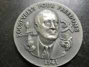 Sterling Silver Franklin Rooseveltand039s Four Freedoms 1941 Round Coin Commemorative