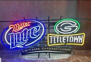 Miller Lite Beer Green Bay Packers 13 Time World Champions Neon Light Up Sign