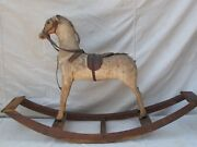 Antique Victorian Wood Rocking Horse Fine Carving