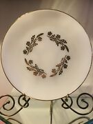 Vintage Federal Glass Meadow Gold Milk Glass Heat Proof Dinner Plates - Set Of 7