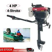 4 Stroke 4hp Heavy Duty Outboard Motor Boat Engine W/air Cooling System Usa