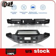 Bulkier Black Front Rear Bumper Guard W/ Led And Winch Plate For Dodge Ram 13-18
