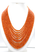 Aaa+ Natural Fanta Garnet Gemstone Faceted Rondelle Shape Stone Beads Necklace