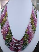 Natural African Multi Tourmaline Gemstone Smooth Oval Nugget Beads 20 Necklace