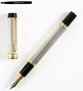 Older Waterman Fountain Pen Man 100 In Sterling Silver Godrons With 18 K M-nib