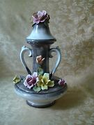 Vintage Capodimonte Large Handled Urn Vase With Lid Roses Italy 17 Tall