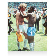 Pele Signed Photo - Swapping Shirts With Bobby Moore Autograph Jersey