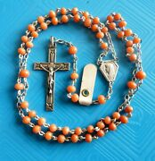 Ancient Solid Silver Coral Beads Rosary Chapelet Ancien Argent Massif Et Corail