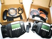 Lot Of 2 Polycom Soundpoint Ip 550 Sip Digital Poe Phone Working W Base, Cord
