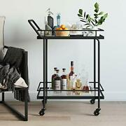 Rolling Bar Or Cart For Tea Or Cocktail 2-tiered Glass And Metal Black
