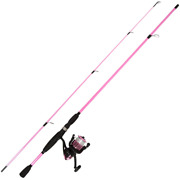 78 In. Pole Pink Fiberglass Rod And Reel Combo Medium Action Size 30 Reel For