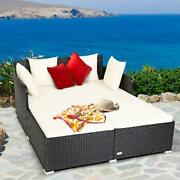 Rattan Daybed Pillows Cushioned Sofa With Armrest Outdoor Patio Furniture New