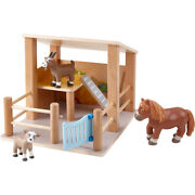 Haba Little Friends Petting Zoo - Wooden Stable With 3 Exclusive Farm Animal