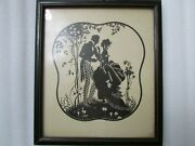 Vintage Silhouette Picture, Beautiful  Courting Couple, Wood Original Frame