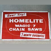 5andrsquo Rare Vtg 1950s Homelite Chainsaw Advertising Canvas Banner Sign Garage Poster