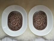Corelle By Corningware Serving Platter White And Brown Two Piece Set Flowers
