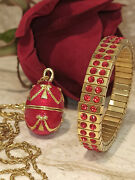 Egg Faberge Jewelry Set Handmade Bracelet Necklace Birthday Gift For Her 24kgold